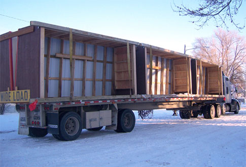 Delivery of calf shelters